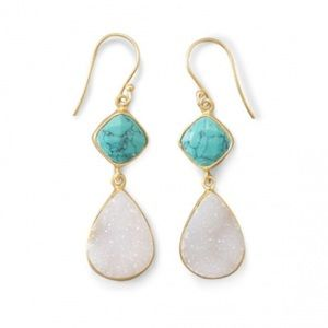 14K Gold Plated Turquoise and Druzy Earrings