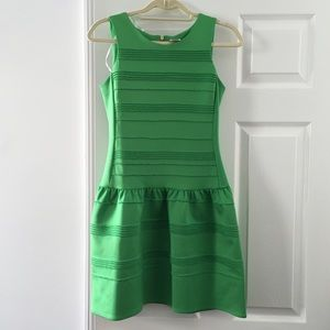 Green drop waist dress