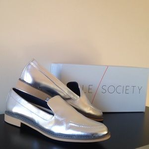 Sole Society Metallic Silver Hipp Loafers 7.5