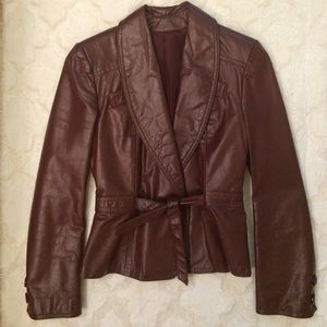 Vintage Brown Leather Jacket, Size S