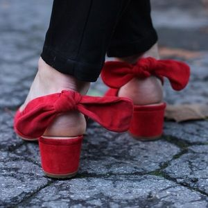 Red suede bow back heels