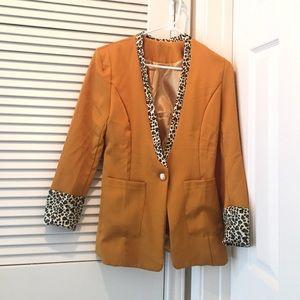 NWOT Mustard leopard blazer
