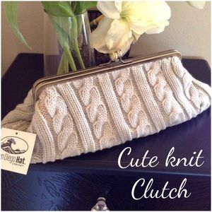 San Diego Hat Company Handbags - NWT Cable knit clutch bag
