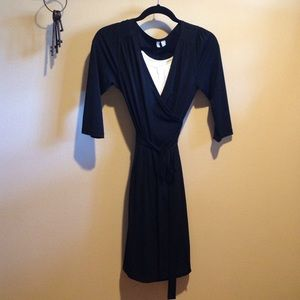 Three-Quarter Sleeve Wrap Dress