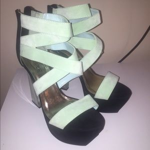 Mint and black platform heel