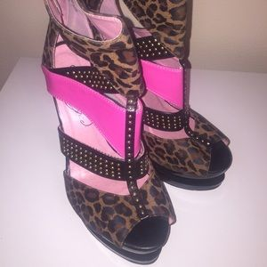 Pink and animal print platform heel