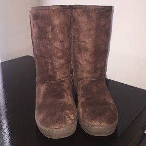 Brown mid calf boot