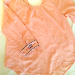 Peach long sleeve top with beautiful cuff detail