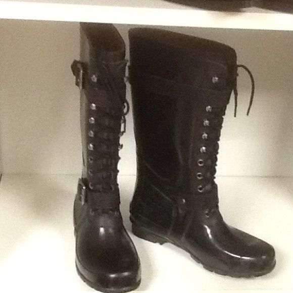 Blk Lace Up Rubber Boots | Poshmark