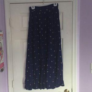 Vintage Long Navy Blue Floral Skirt
