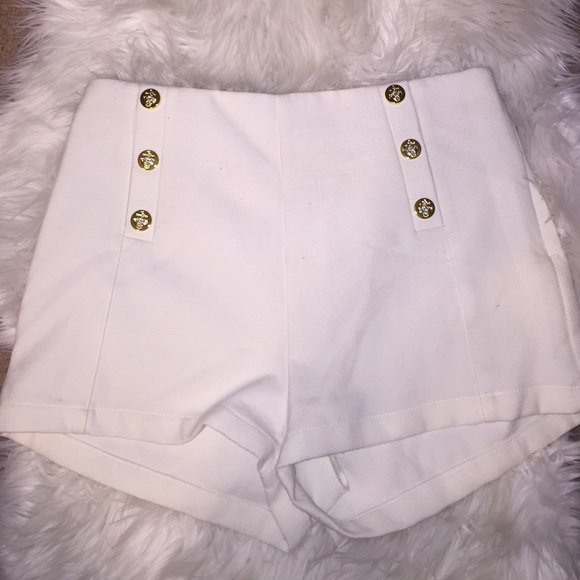 77% off Forever 21 Pants - Sold white sailor shorts high waisted ...