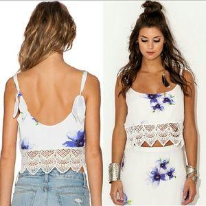 New winston white maya lace crop top lavender ties