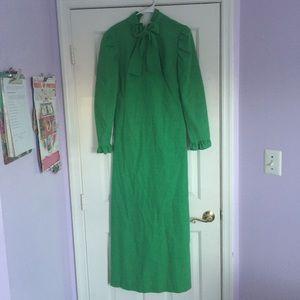Green Vintage Long Bow Dress
