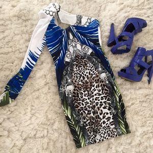 Arden B Dresses & Skirts - One-shoulder Leopard & Chain Dress, size XS / 0