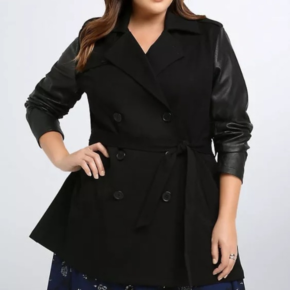976347338ee Torrid Trench Coat Faux Leather Sleeves Plus Size