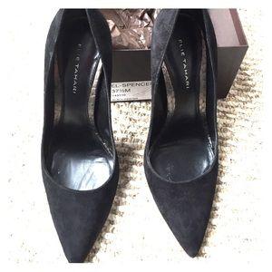Elie Tahari black suede heels