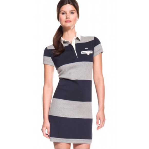 7157a87340 Lacoste Dresses | Short Sleeve Rugby Stripe Polo Dress Nwt | Poshmark