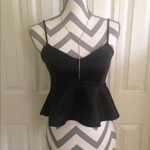 Black Peplum Tank Crop Top