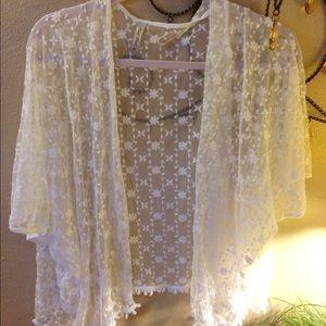 White see through kimono top