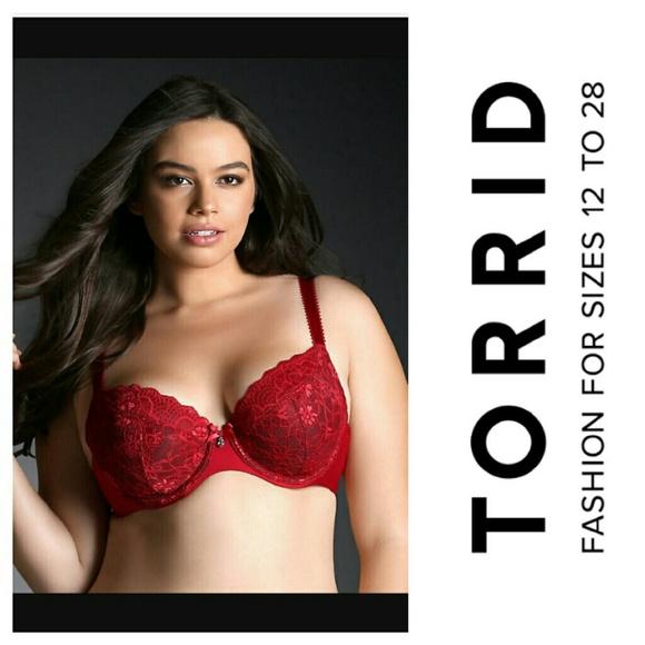 857645de7f497 Torrid demi bra red lace 48D plus size unlined