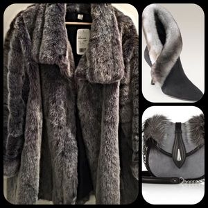 New Fast European Jackets & Blazers - Old Hollywood silvery gray oversized faux fur coat