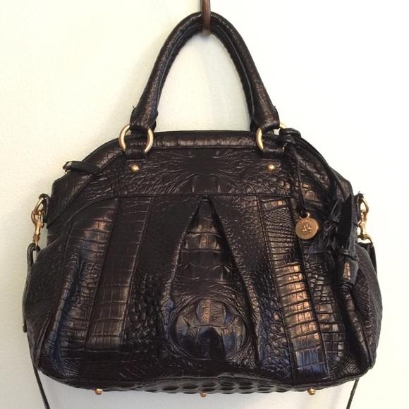0b8a9664a051 Brahmin Handbags - Brahmin Louise Rose Satchel - Croc Embossed Black
