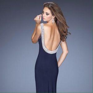 La Femme Dresses & Skirts - La Femme Pearl Deep Back Prom Dress