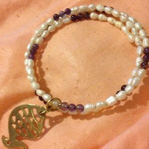 Jewelry - NATURAL SEED PEARLS & amethyst 3 row bracelet