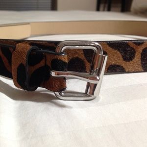 Leopard Pony Hair Skinny Belt