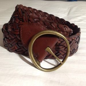 Ralph Lauren Brown Braided Wide Leather Belt