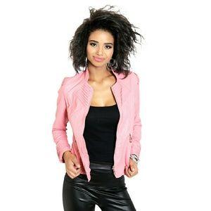 Jackets & Blazers - NWT Pink Fashion Faux Leather Jacket, XSMALL