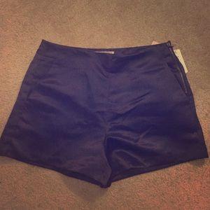Navy blue satin shorts