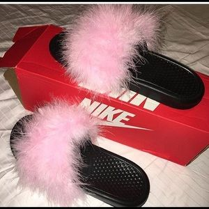 Furry Nike Slides