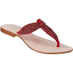 Cocobelle Shoes - Cocobelle Catalina Leather RED Beaded Thong Sandal