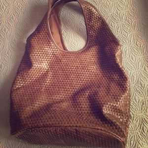 Old Navy Brown Faux Leather Hobo Bag