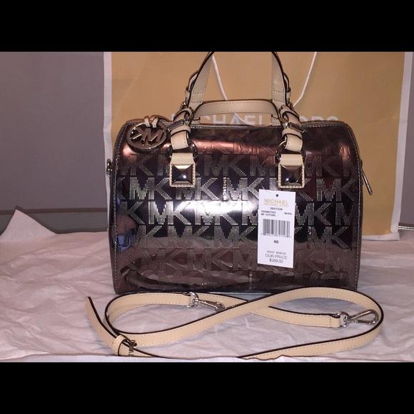 465e070fe636 Michael Kors Bags | Grayson Metallic Satchelnwt Nickel | Poshmark