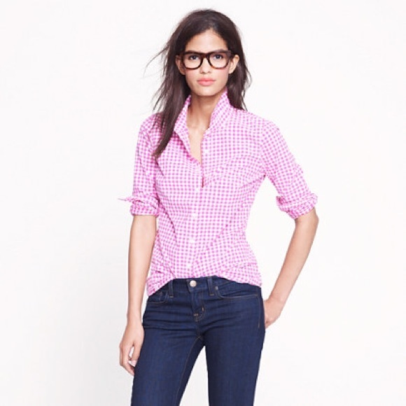28 off j crew tops j crew pink gingham shirt from for Pink gingham shirt ladies
