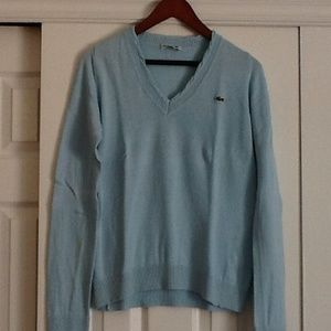 Light blue Lacoste v-neck sweater
