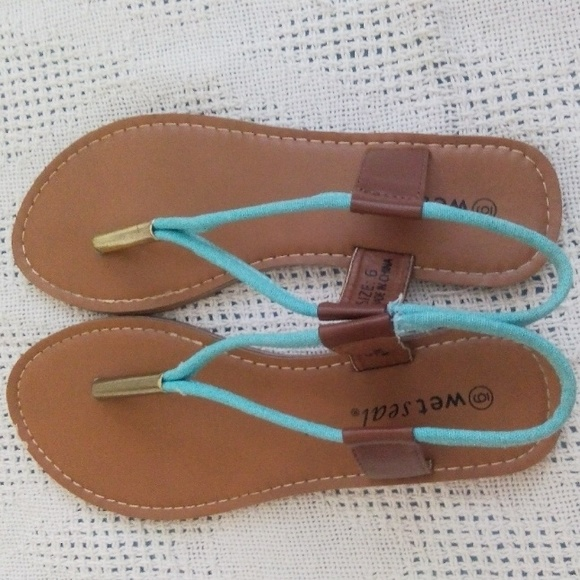 Wet Seal Shoes  Blue And Gold Flip Flops  Poshmark-9343