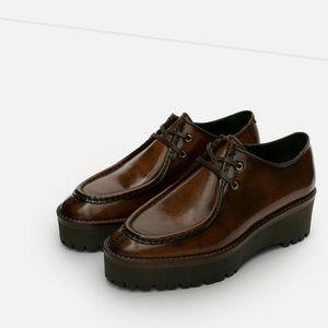Zara leather platform shoes (5306)