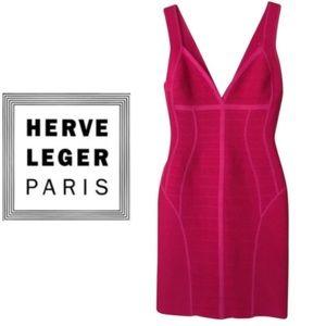 HERVE LEGER Fuchsia Bandage Dress