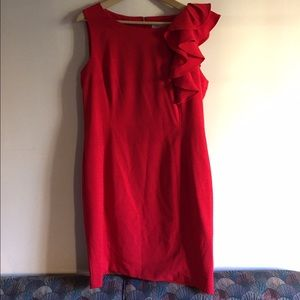 Calvin Klein Red Ruffle Dress