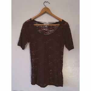 Maroon lace fitted top