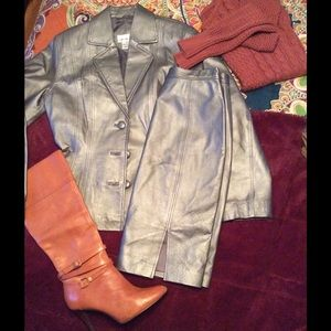 Other - 🍃🌸SALE🌺🍃Leather Jacket & Skirt