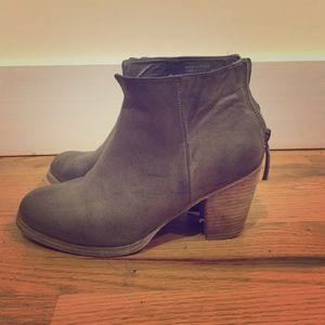 Grey Booties with tan heel