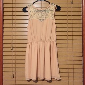 Necessary Clothing Dresses & Skirts - Lace and Chiffon Dress with Criss Cross Back