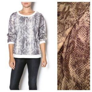 Whitney Eve Sweaters - Whitney Eve snakeskin velour sweatshirt size Med