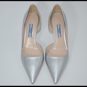 Authentic Prada Silver pumps