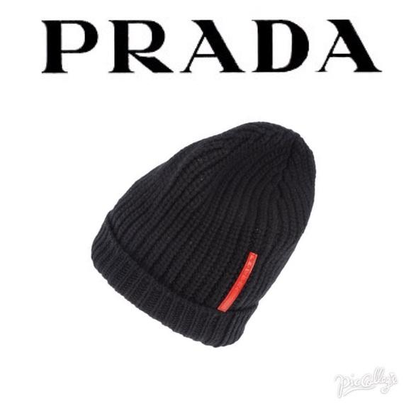 bd53c9f8c93 Prada Black Knit Hat Cap Beanie
