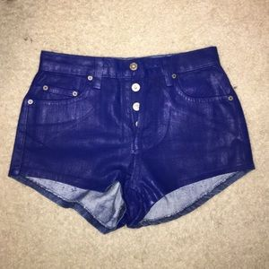 New LF - High Waisted Shorts - Blue Shiny